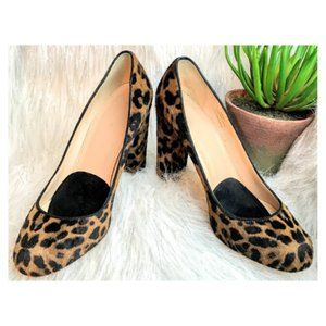 J.Crew Calf Leather Leopard Heels